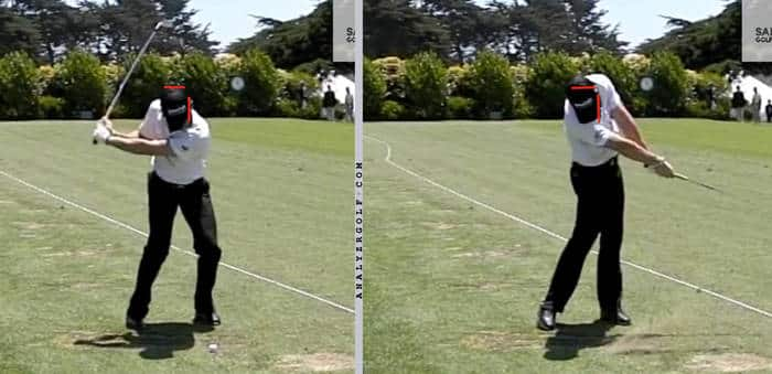 Rory McIlroy extending through impact, but head still lower than setup. image via adamyounggolf