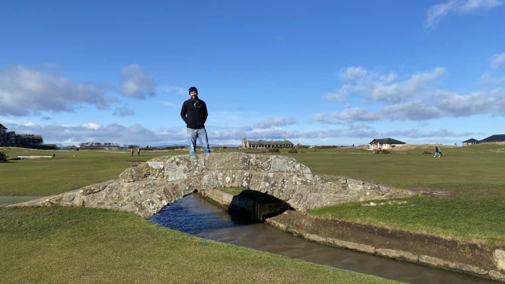 standing on the swilcan bridge, st. andrews